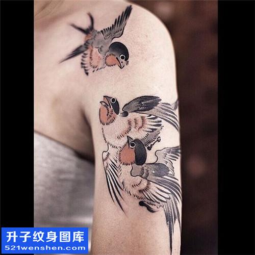 女性大臂水墨鸟纹身图片大全