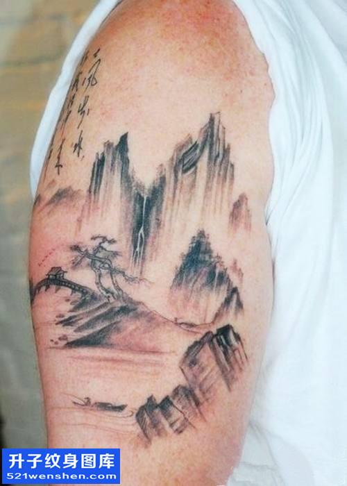 男性大臂水墨山纹身图案大全