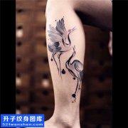 男性小腿水墨鸟纹身图片大全