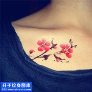 女性胸口水墨梅花纹身图案大全