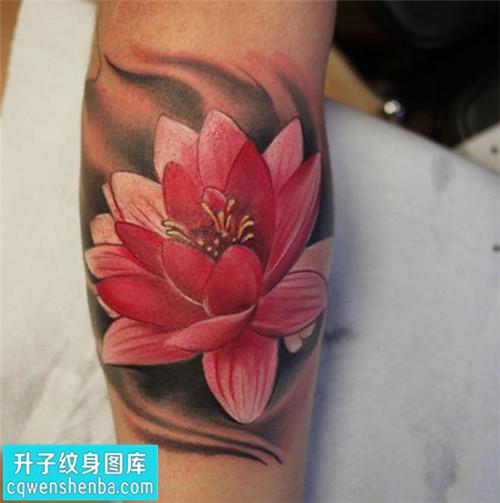 女性小臂彩色传统荷花纹身图片大全