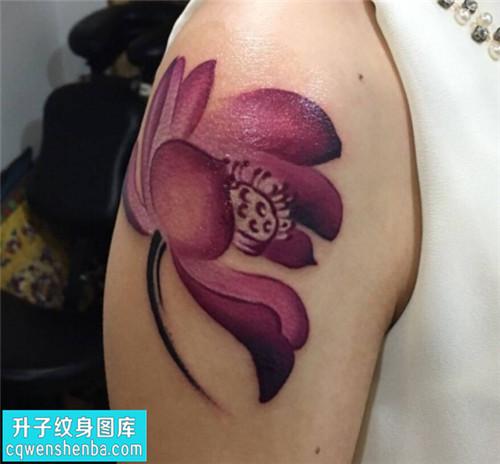 女性传统彩色荷花纹身图片大全