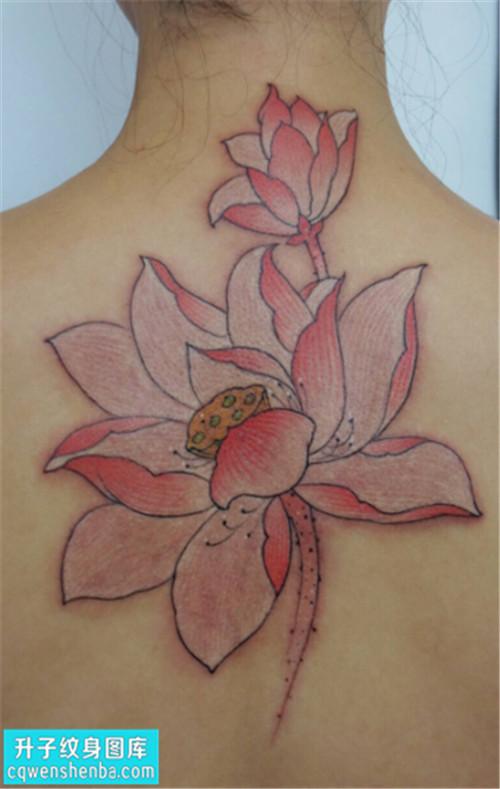 重庆纹身哪里便宜 女性后背传统彩色荷花纹身图案大全