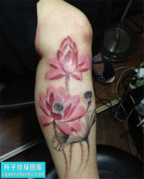 男性小腿荷花彩色传统纹身图片大全