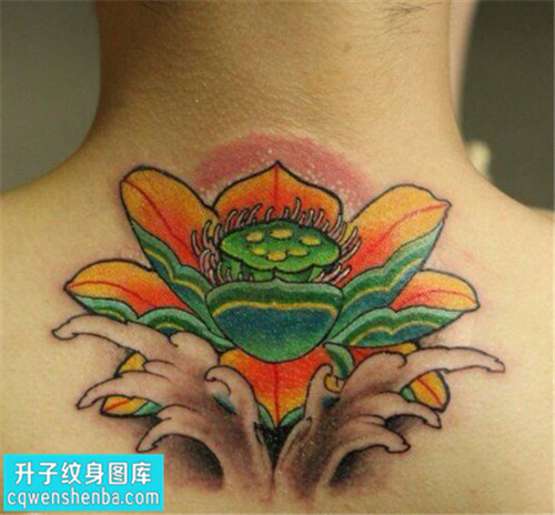 男性后背彩色荷花传统纹身图片大全