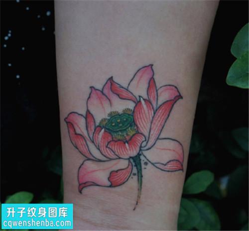 女性小臂传统彩色和哈纹身图案大全