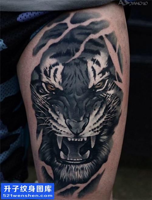 男性大腿欧美黑灰老虎纹身图案大全