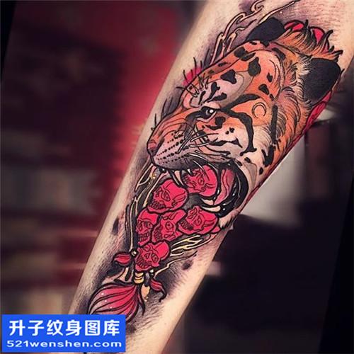 男性小臂欧美彩色老虎纹身图片大全