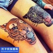 女性大腿欧美彩色老虎纹身图案大全