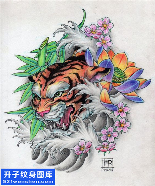 纹身手稿传统老虎纹身图案大全