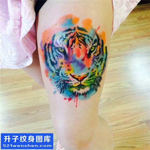 女性大腿水墨彩色老虎纹身图片大全