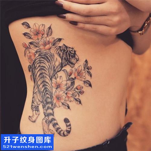 女性传统侧腰老虎纹身图片大全