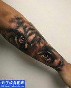 男性欧美小臂写实老虎纹身图片大全