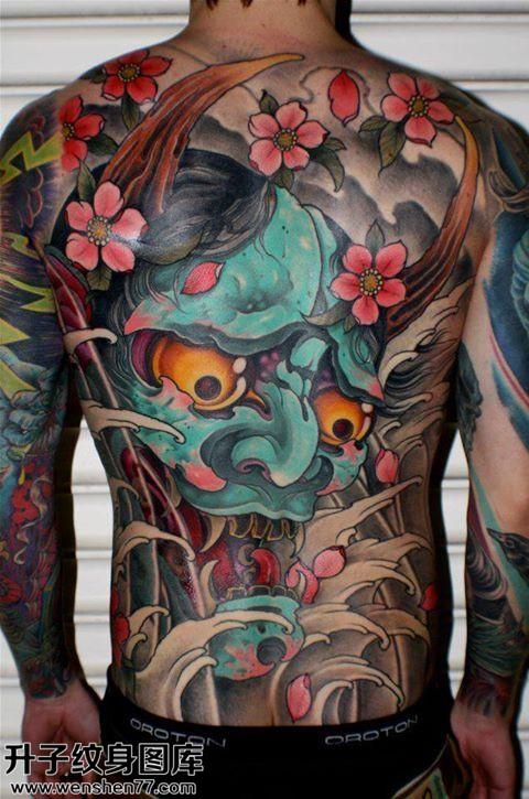 男性传统满背彩色般若纹身图案大全