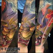 男性小臂传统彩色般若纹身图案大全