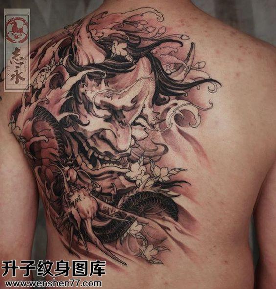 男性后背传黑灰般若龙纹身图案大全