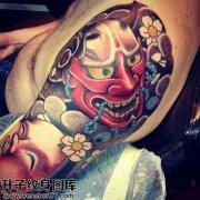 男性大臂传统彩色般若纹身图片大全