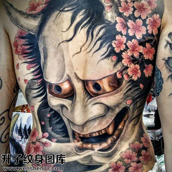 男性传统彩色满背般若纹身图案大全