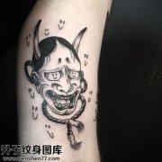 男性小腿传统般若纹身图案大全