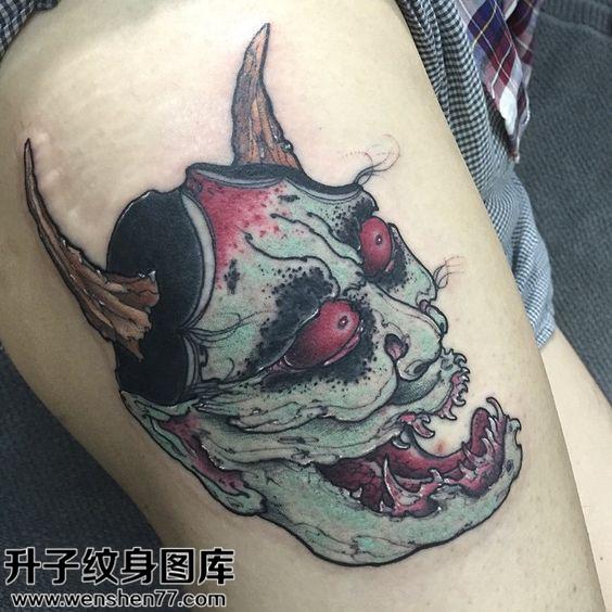 重庆纹身哪里便宜 女性大腿彩色欧美般若纹身图案大全