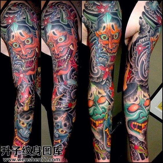 男性传统彩色花臂般若纹身图片大全