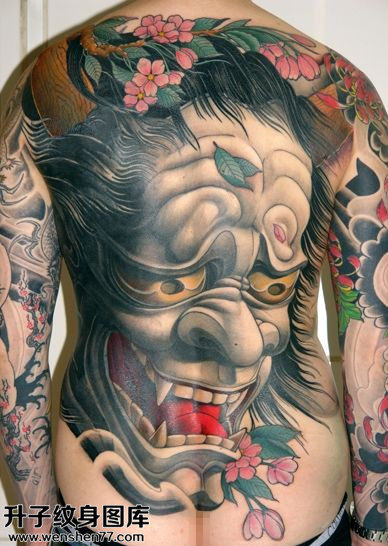 男性传统满背般若纹身图案大全