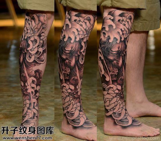 男性小腿传统黑灰般若纹身图片大全