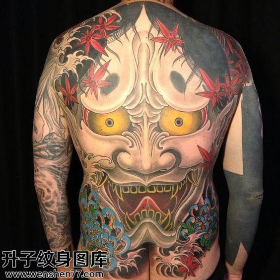男性传统满背般若纹身图片大全