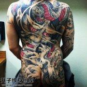 男性满背传统般若蛇纹身图案大全