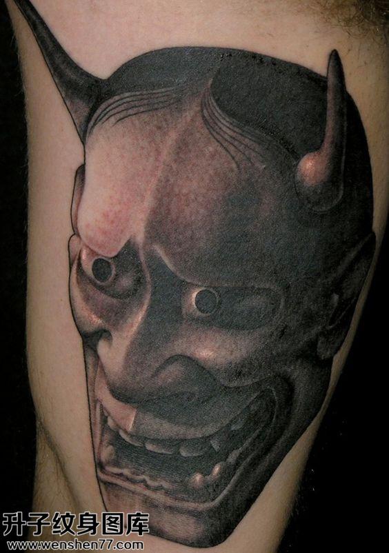 男性传统大臂黑灰般若纹身图案大全