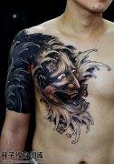男性传统胸口黑灰般若纹身图案大全