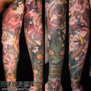 男性传统彩色花臂般若纹身图案大全