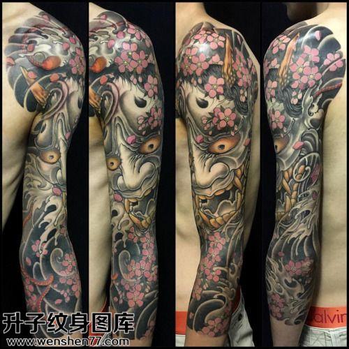 男性传统花臂般若纹身图案大全