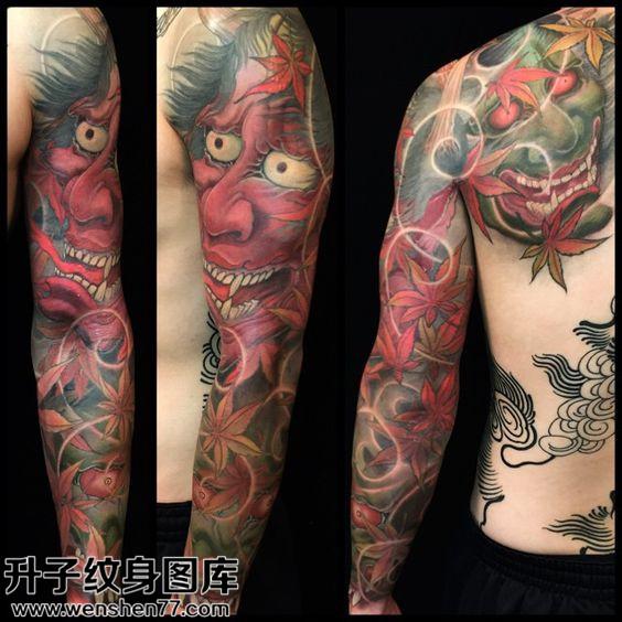 男性花臂传统般若纹身图片大全