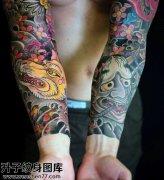 男性花臂传统般若纹身图案大全