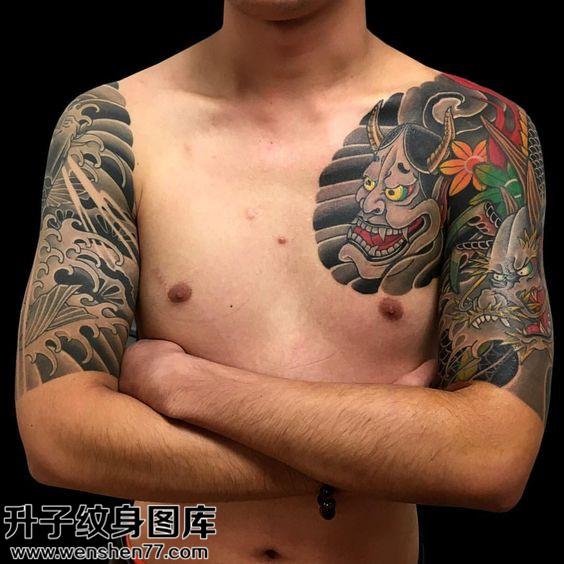 男性半甲传统般若龙纹身图案大全