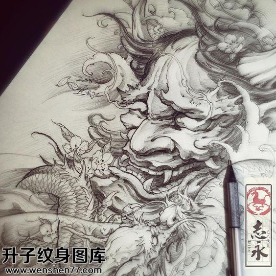 纹身手稿传统般若龙纹身图片大全