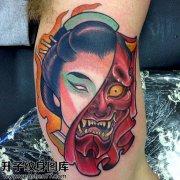 男性传大臂般若艺妓纹身图案大全