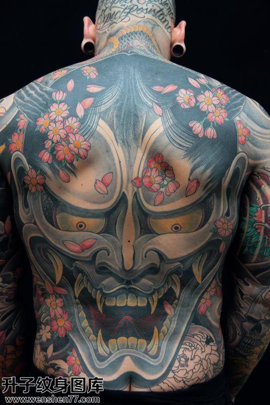 男性满背传统般若纹身图案大全
