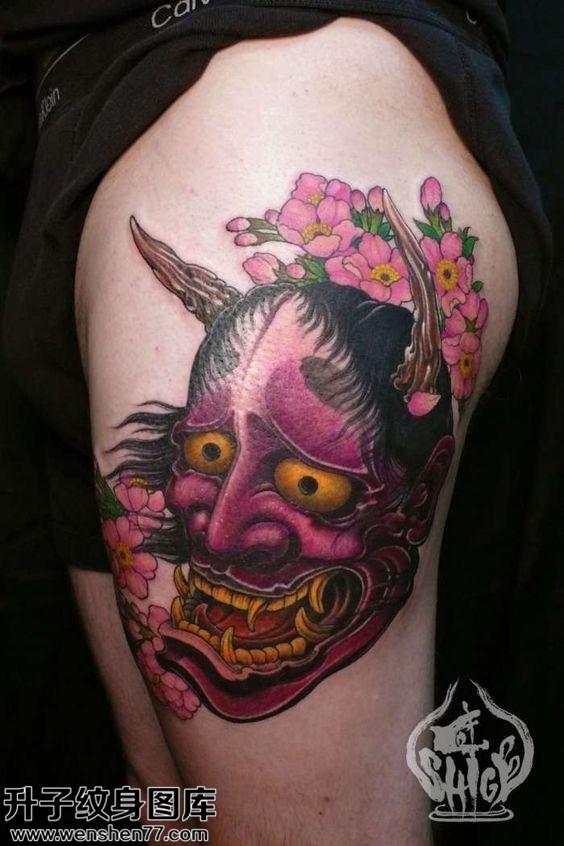 女性传统般若彩色纹身图案大全