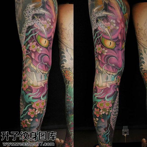 男性大腿传统般若纹身图案大全