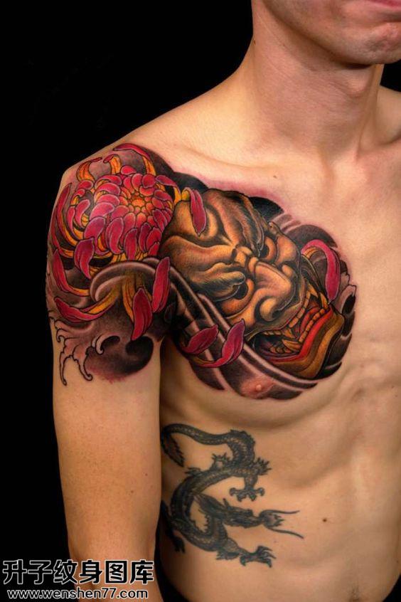 男性胸口传统般若纹身图案大全