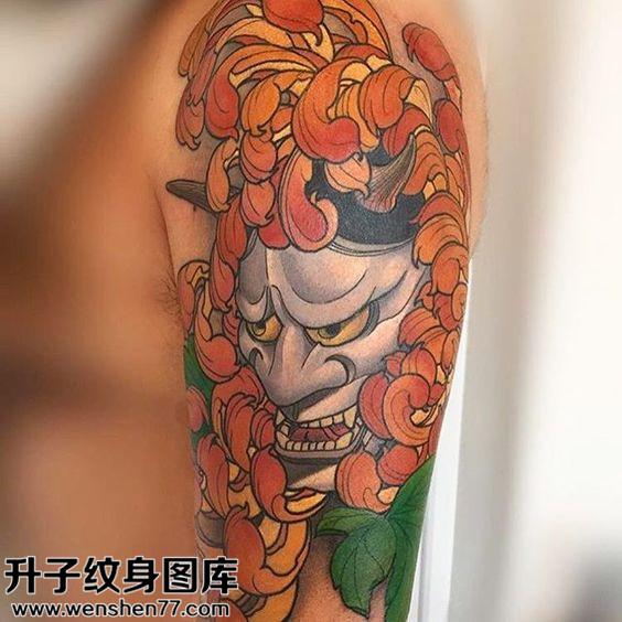 男性大臂传统般若纹身图片大全