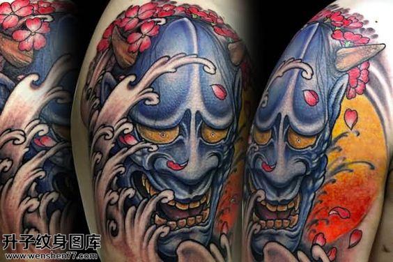 男性大臂传统彩色般若纹身图案大全