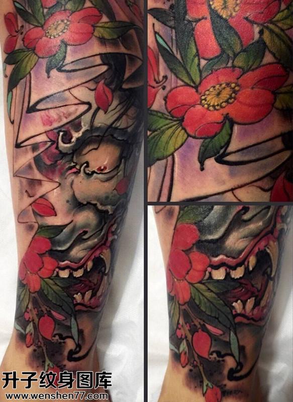 男性传统小臂彩色般若纹身图案大全