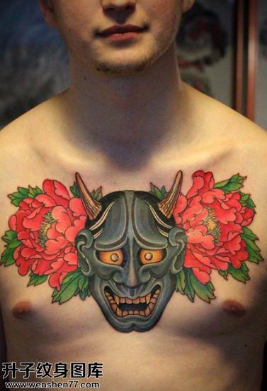 男性传统牡丹般若纹身图案大全