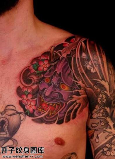 男性胸口传统般若纹身图片大全