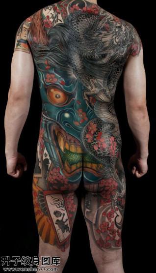男性传统满背般若龙纹身图案大全