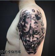 男性大臂传统黑灰般若纹身图案大全