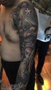 重庆纹身 男性花臂般若鲤鱼纹身图片大全